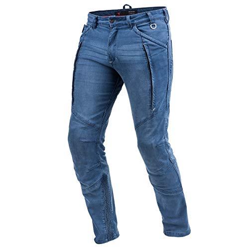 SHIMA GHOST BLUE, Jeans de motocicleta para hombres de Kevlar blindado con protectores (Azul, 34)