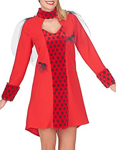 Disfraz de mariquita para mujer, color rojo y negro, talla 40/42