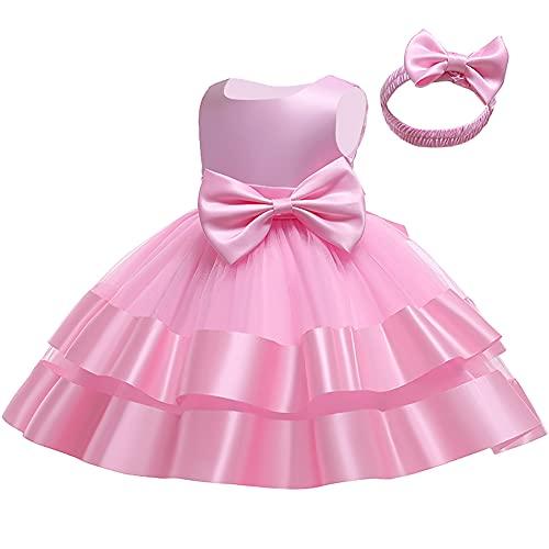 Vestido de niña de las flores sin mangas princesa bowknot tutú cumpleaños bautizo vestido de fiesta de boda traje niño niño desfile vestido de bola, rosa, 2-3 Años