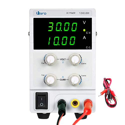 iiBro Fuente de alimentación Regulable DC 0~30V 0~10A 4 LED Ajustable Transformador, para Laboratorio, reparación General Precisión EU Plug
