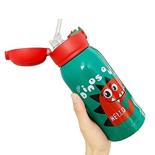 PUYEI Tres tapas para niños, termo de paja, para guardería, estudiantes, vaso de agua de acero inoxidable, botella de agua portátil anticaída (pequeño dinosaurio (tapa individual sin tapa)