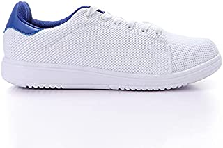 Starter Nylon-Mesh Contrast Leather Heel-Tab Unisex Walking Shoes - White & Blue, 42