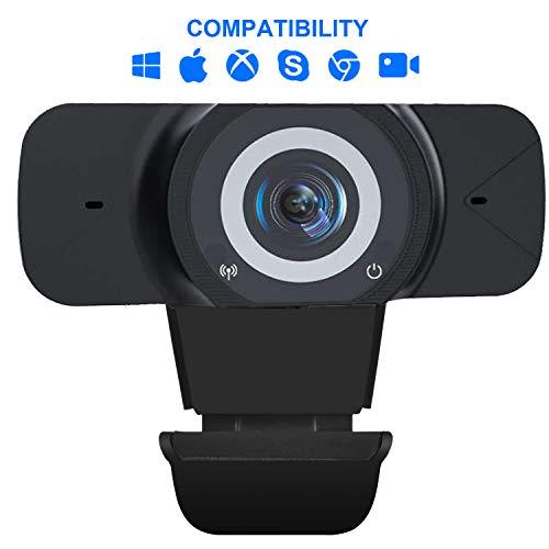 Webcam 1080P, Autofokus Full HD USB Webkamera Eingebautes Geräuschreduzierung-Mikrofone für Konferenzen, Remote-Video, Online-Unterricht, Spiele und Live-Streaming