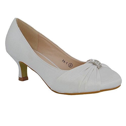ESSEX GLAM Womens Bridal Shoes Satin Diamante Brooch Ladies Low Mid Heel Wedding Courts 3-8