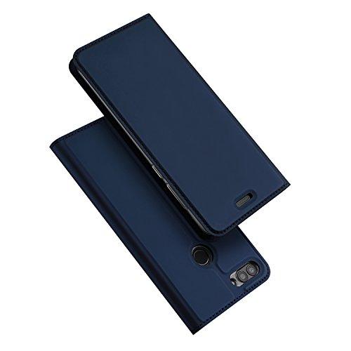 DUX DUCIS Hülle für Huawei P Smart, Leder Flip Handyhülle Schutzhülle Tasche Hülle mit [Kartenfach] [Standfunktion] [Magnetverschluss] für Huawei P Smart (Blau)