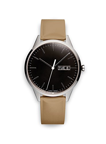Uniform Wares Unisex Herren & Damen C40 Uhren in Polished Steel with Tan Nitrile Rubber Strap