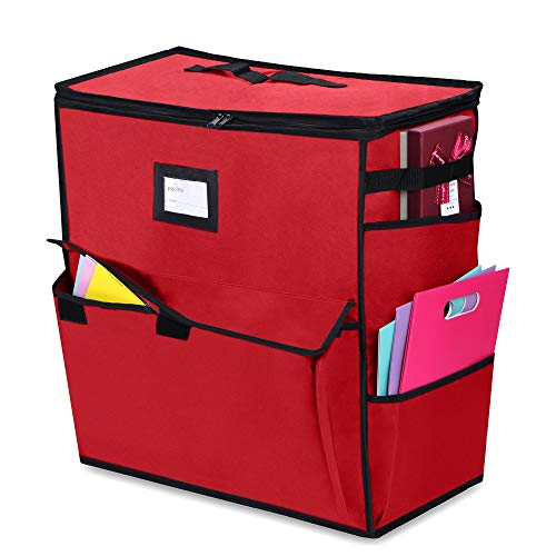ProPik Christmas Storage Organizer, Gift Bags, Bows, Ribbons and Wrapping Accessories Container (Red)