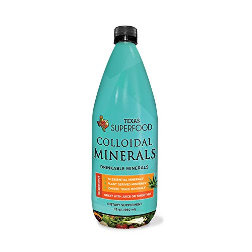 Texas SuperFood - Colloidal Minerals, Drinkable Liquid Minerals, Trace Mineral Dietary Supplement, Plant Based & Ionized Trace Minerals, 32 oz, 30 Servings