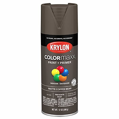 Krylon K05596007 COLORmaxx Spray Paint and Primer for Indoor/Outdoor Use, Matte Coffee Bean