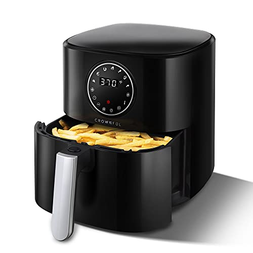 CROWNFUL 5 Quart Air Fryer, Electric Hot Oven Oilless Cooker,LCD Digital Touch Screen with 7 Cooking Presets and 53 Recipes, Nonstick Basket,1500W ETL Listed (Black)