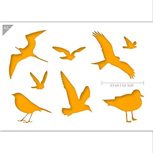 QBIX Vogel Schablone - Vogel Silhouetten - Möwe Schablone - A5 Größe - Wiederverwendbare Kinder freundlich DIY Schablone zum Malen, Backen, Basteln, Wand, Möbel