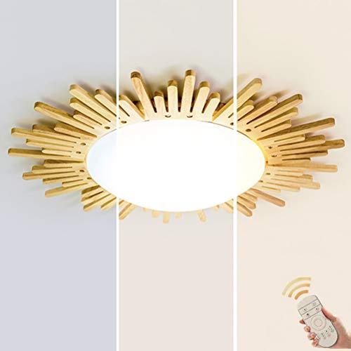 24W Dimmbar LED Holz Deckenlampe mit Fernbedienung Kinderlampe Sonne Deckenleuchte Weiß Acryl Schirm Ultradünne Wohnzimmerleuchten Flurleuchte Schlafzimmer Kinderzimmer Lampe Decke Licht