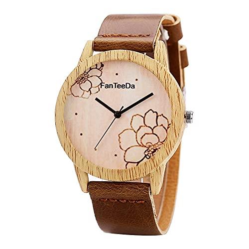 SUYANG Reloj Redondo Reloj Analógico Reloj De Cuarzo Mujeres Damas Movimiento De Cuarzo Relojes Reloj De Pulsera (marrón Oscuro)