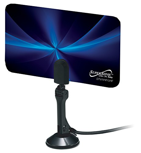 SuperSonic SC-607 HDTV Flat Digital Antenna - Supports 1080p and 720p, Linear Polarization, 470-860MHz Frequency Range - 8.30 x 4.68 Inches