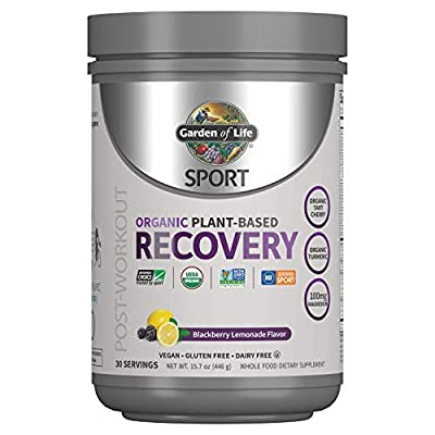 Garden of Life Sport Organic Post Workout Recovery Drink Antioxidant Supplement, Vegan, BlackBerry Lemonade, 15.7oz (446g) Powder *Packaging May Vary*