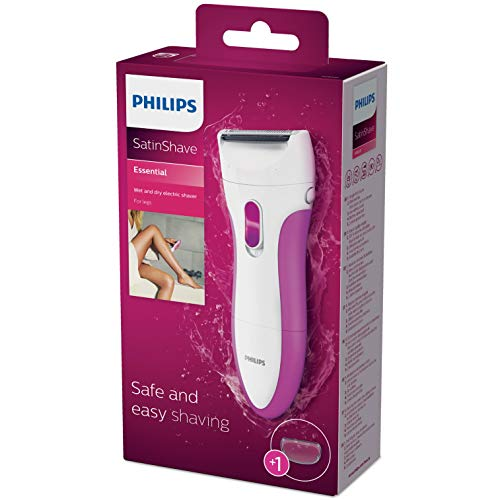Philips HP6341 SatinShave Essential Lady Shaver, Wet and Dry, Battery Operated, Electric Razor