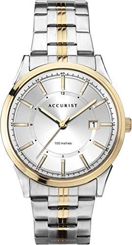 Nauwkeurige Heren RVS Japanse Quartz Horloge Met Sunray Wijzerplaat, Datumvenster, 100 m Waterbestendig, Lichtgevende Handen, Vouw Over Veiligheid Sluiting, 2 jaar garantie.