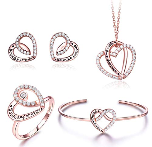 XIRENZHANG Juego de 4 joyas de plata de ley 925 con diamantes personalizados, collares, pendientes, anillos, pulseras doradas
