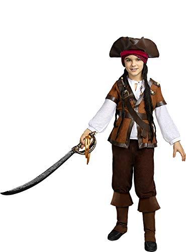 Funidelia | Disfraz de Pirata - Coleccin Caribe para nio Talla 5-6 aos Corsario, Bucanero - Color: Marrn - Divertidos Disfraces y complementos para Carnaval y Halloween