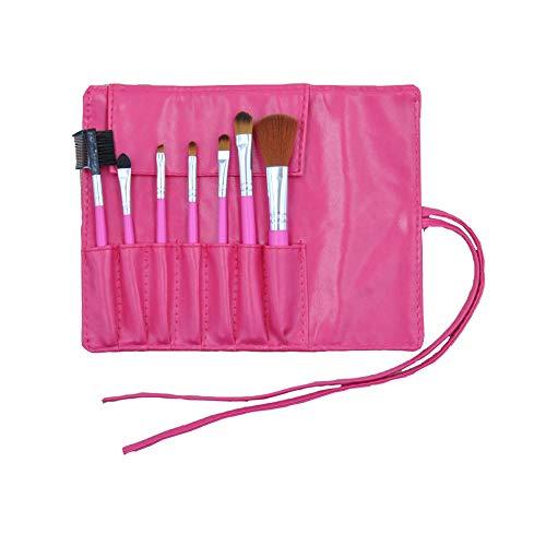 Maquillage brosse ensemble synthétique 7pcs make up brosses Fondation blush fard à paupières mélange LIP Brush visage poudre ombre cosmétique avec sac PU,Red