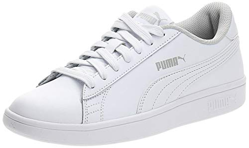 Puma - Smash V2 L Jr, Zapatillas Unisex Niños, Blanco (Puma White-Puma White 02), 36 EU