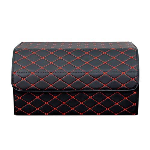 Ergocar Kofferraum Organizer Luxus-PU-Leder Aufbewahrungstasche Organizer Wasserdicht Faltbar Kofferraum-Tasche für Auto/LKW/SUV (Schwarz Rot-L)