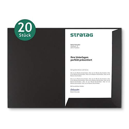 Präsentationsmappe A4 in Schwarz 20 Stück (wählbar) - erhältlich in 7 Farben - direkt vom Hersteller STRATAG - vielseitig einsetzbar für Ihre Angebote, Exposés, Projekte oder Geschäftsberichte