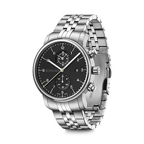 Wenger Urban Classic - Reloj cronógrafo para hombre con esfera negra y correa de acero inoxidable plateada 01.1743.122