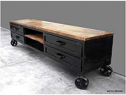 Mueble de televisión (180 cm, con ruedas), diseño industrial
