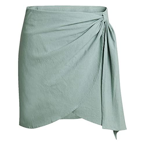 N\P Falda de lino de algodón para mujer irregular una línea de falda