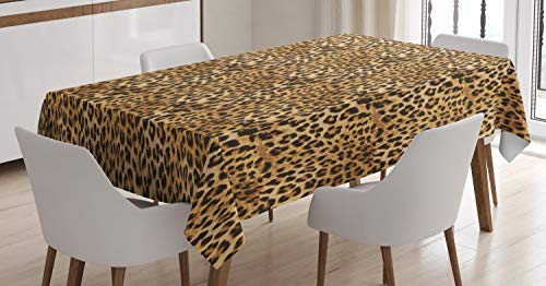 "Ambesonne Brown Tablecloth, Leopard Print Animal Skin Digital Printed Wild Safari Themed Spotted Pattern Art, Rectangular Table Cover for Dining Room Kitchen Decor, 60"" X 90"", Brown"