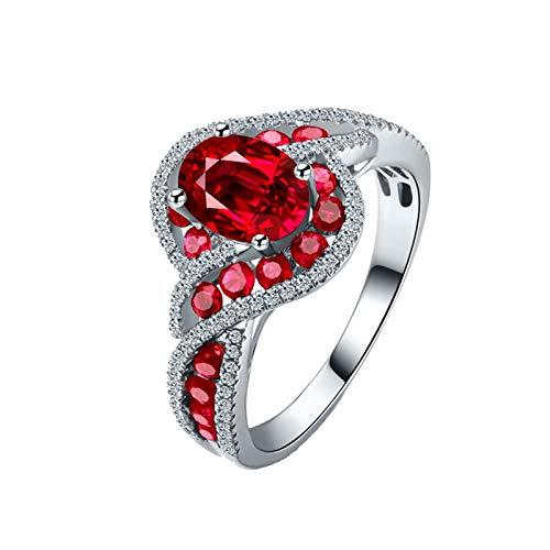KnSam Joyas-Amor Eterno &Anillo Compromiso Verde Anillo de Diamante 1.06CT de 18K de Oro Blanco Anillo de Plata de la Talla de 6,75-20