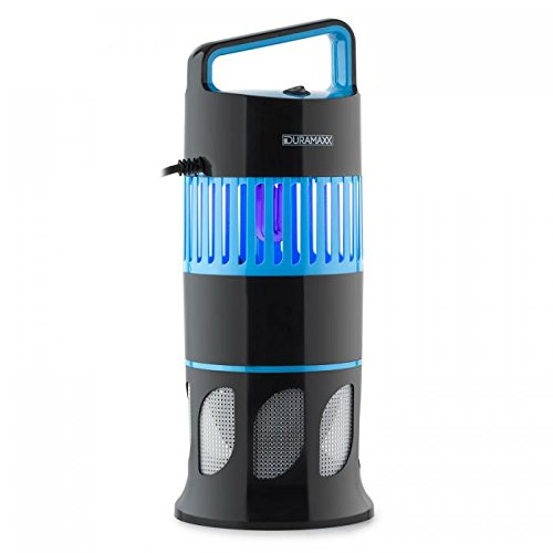 Duramaxx Mosquito Ex Deco - Trampa para Insectos, Lámpara antimosquitos, Liberador de plagas sin químicos, Tubo de luz UVA, Bajo Consumo, Activación automática, Ventilador, Negro/Azul