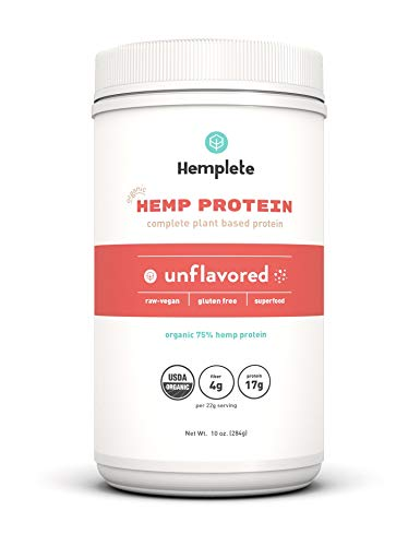 Hemplete Organic, Cold-Processed Hemp Protein Powder, 10oz, Unflavored, 17g Protein Per 22g Serving