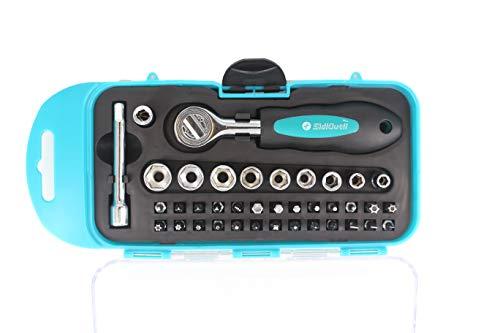 """SidiOutil 38 Stück Ratschen Schraubendreher Bits Sockel Werkzeugsatz mit Phillips, Geschlitzt, Sechskant und Torx 1/4\""""Antriebsgröße zum Reparieren von Elektrogeräten, Fahrrad, Haushaltsgeräten …"""