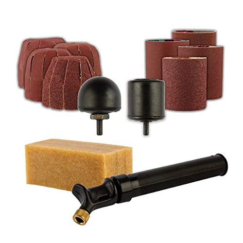 King Arthur's Tools Patented Guinevere Basic Sanding Kit - Inflatable Drum and Round Sanders + Sanding Sleeves for Woodworking, Shaping and Finishing - Compatible with 0-3/8' Chuck Rotary Tools #11360
