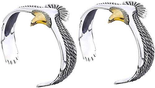 Retro Copper Eagle Cuff Bracelet,Viking Raven Eagle Bracelet Bangle,Eagle Cuff Wrisband,Rock Punk Bangle Pagan Jewelry Eagle Cuff Wrisband for Men and Women Open Ended Bangle-2PCS