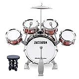 M SANMERSEN Toddler Drum Kit Kids Toy Jazz Drum Set 5 Drums with Stool Mini Band Rock Set Musical Instruments Toy Birthday Gift for...
