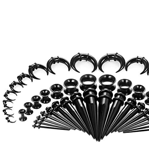 X/L Juego de 50 expansores de dilatadores de oreja de acrílico y tapón y túnel de silicona para piercing (color: 01)