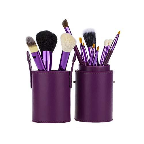 Pinceaux à maquillage Kit de 12 pièces Mélange Professionnel Visage Contour Garniture Le fard à paupières Lèvre Nasale Sourcil Rougir Fondation Poudre éparse Beauté Outils Kabuki Avec baril,Purple