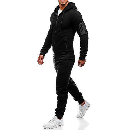 Aiserkly Herren Jogging-Anzug, Trainings-Hose-Jacke-Anzug mit Kapuze und Rippstrickbündchen Sporthose+Hoodie Jogger Freizeitanzug Hausanzug Zwei-Teilig Schwarz XL