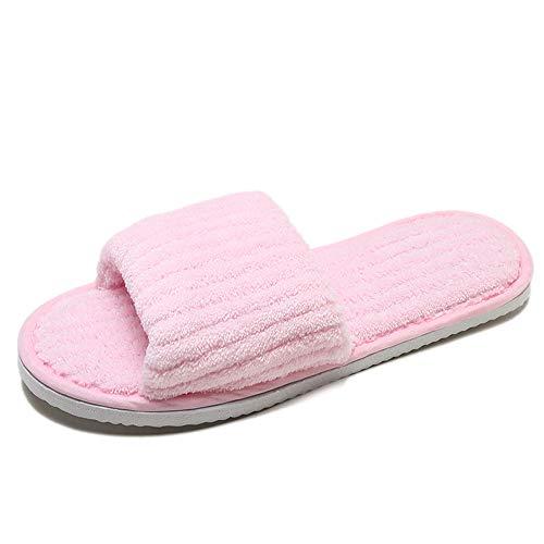 Chaussures de femme, Toamen Pantoufle de dérapage Pantoufle d'intérieur Ménage Chaussure En Coton Tête ronde Bout ouvert Confortable Garder au chaud (36/37/38, Rose)