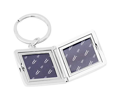 Brillibrum Design medaillon met gravure zilver om open te klappen 2 foto's foto sleutelhanger frame fotolijst hoekig amulet sieraden openklapbaar vriendschap