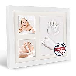 namico® Baby Fußabdruck und Handabdruck Set - Set für Baby Hand-, und Fußabdruck – [3] Pakete Tonknete – [1] Bilderrahmen (Weiß) - personalisiertes Geschenk