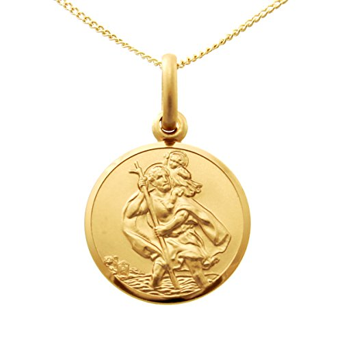 Small 9ct Gold St Christopher Pendant Medal - 14mm - with 18' Chain and jewellery gift box