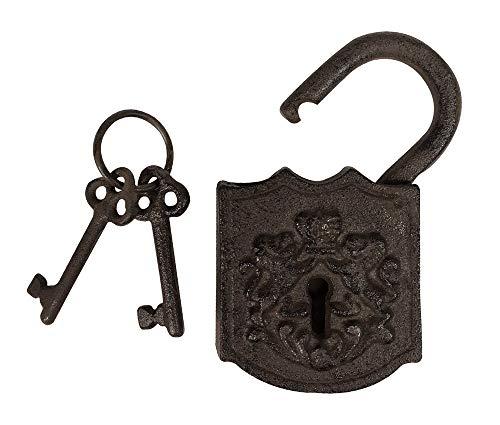 zeitzone Vorhängeschloss Antik-Stil mit 2 Schlüssel Türschloss Nostalgie Gusseisen Braun