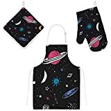 Nuansexi Kitchen Cooking Apron Set 3 Pieces Heat Insulation Set Pot Holder Oven Gloves Set BBQ Baking Aprons Adjustable Neck Waterdrop Insulation Space Stars Planet Chef Women Men