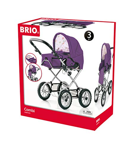 BRIO - 24891310 - Poussette ''Combi 3 En 1'' Prune - Jeu d'imitation - Poussette, Landau pour poupée - Réglable, pliable et robuste - Pour filles et garcons dès 3 ans