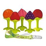 Mordedor bebes Baby Teething Toys Juguetes de dentición para bebés, conjunto de mordedores de silicona natural de silicona suave (5 piezas)