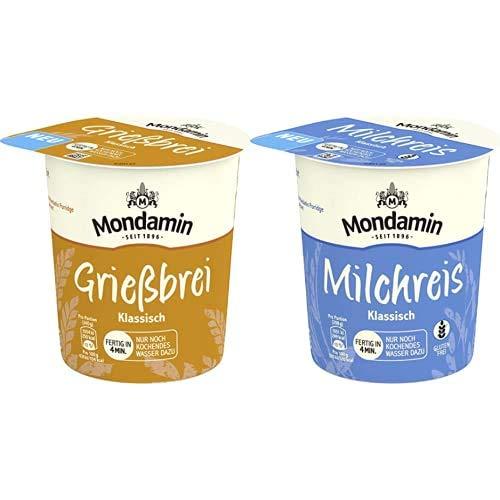 Mondamin Grießbrei klassisch, 8 x 60 g + Mondamin Milchreis klassisch für unterwegs glutenfrei, 8 x 58 g